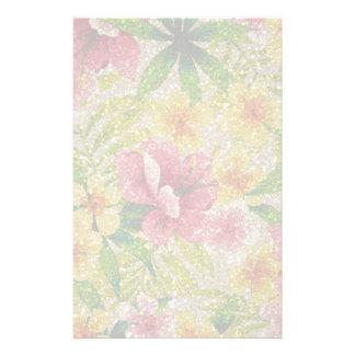 Pink & Yellow Glittery Flowers Stationery