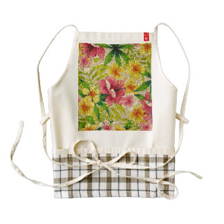 Pink & Yellow Glittery Flowers Zazzle HEART Apron