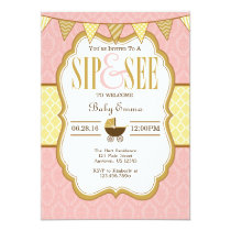Pink Yellow Gold Sip And See Invitation