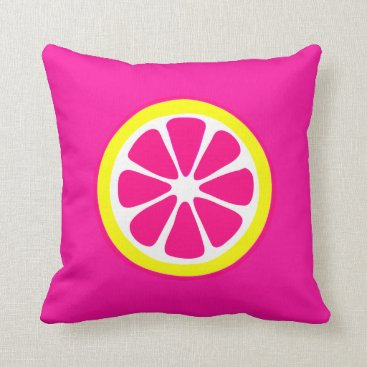 Pink & Yellow Grapefruit Accent Pillow