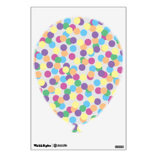 Pink Yellow Green Blue & Purple Polka-Dots Balloon Wall Sticker