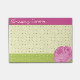 Pink Yellow Green Polkadots and Rose Post-it Notes
