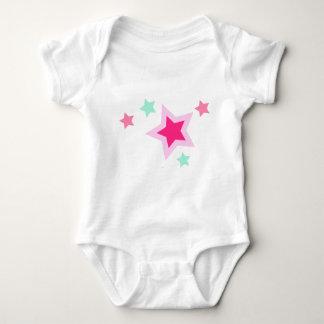 Pink Yellow Green Stars on Black Baby Bodysuit