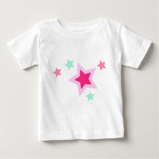 Pink Yellow Green Stars on Black Baby T-Shirt