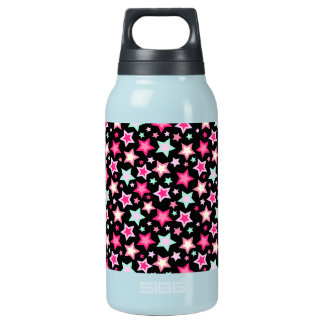 Pink Yellow Green Stars on Black Insulated Water Bottle