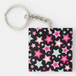 Pink Yellow Green Stars on Black Single-Sided Square Acrylic Keychain