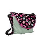 Pink Yellow Green Stars on Black Messenger Bag