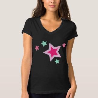 Pink Yellow Green Stars on Black T-Shirt