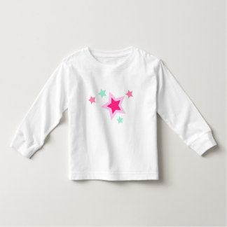 Pink Yellow Green Stars on Black Toddler T-shirt