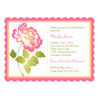 Pink, Yellow, Green, White Peony Bridal Shower Card