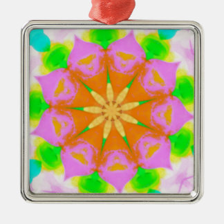 Pink Yellow Green Yellow Flower Burst Mandela Metal Ornament
