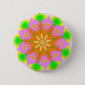 Pink Yellow Green Yellow Flower Burst Mandela Pinback Button