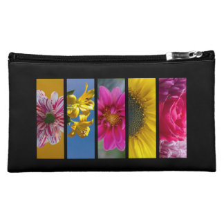 Pink & Yellow Macro Flowers Cosmetic Bag