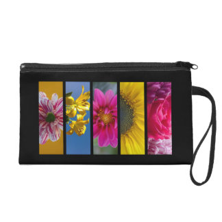 Pink & Yellow Macro Flowers Wristlet Purse