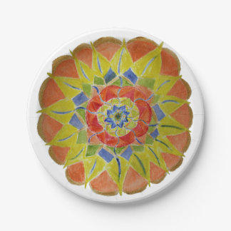 Pink Yellow Mandala Watercolor Paper Plates