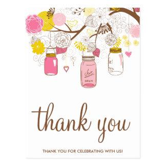 Pink Yellow Mason Jars Floral Thank You Postcard