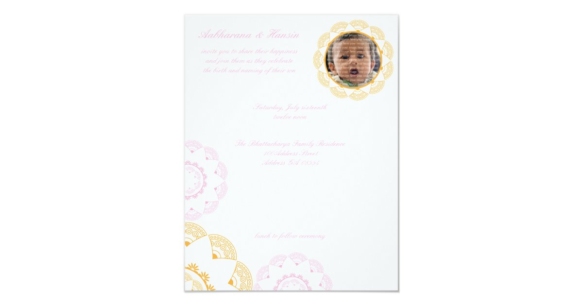 PInk & Yellow Namkaran Baby Naming Invitations | Zazzle.com