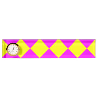 Pink Yellow Neon Opposite Colors Abstract Block Name Plate