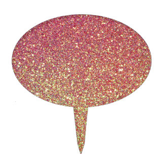 Pink Yellow Ombre Glitter Background Cake Topper