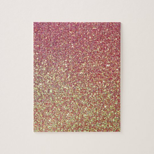 Pink Yellow Ombre Glitter Background Jigsaw Puzzle