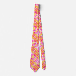 Pink-yellow-orange abstract watercolor pattern tie