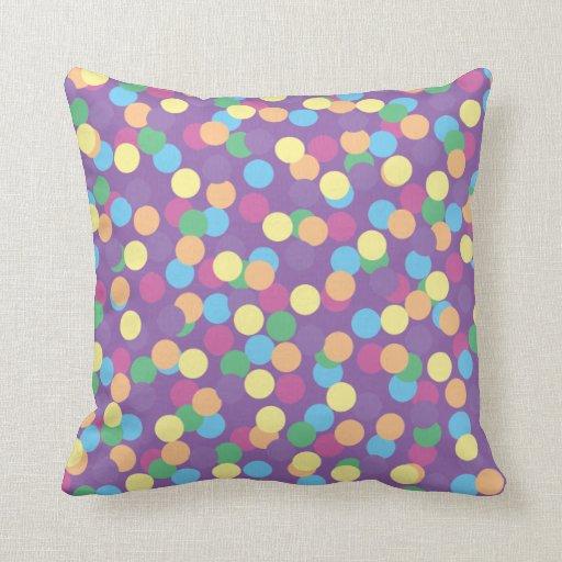 Blue Green Orange Throw Pillows : Pink Yellow Orange Green Blue & Purple Polka-Dots Throw Pillow Zazzle