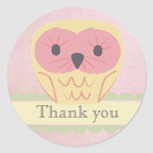 Pink & Yellow Owl Thank You Label Sticker