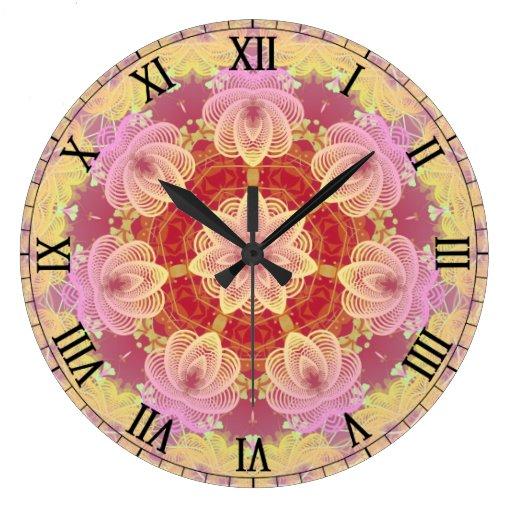 Pink & Yellow Pastel Gyro Fractals Wall Clock