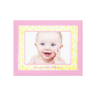 Pink Yellow Polka Dot Baby Girl Photo Picture Gallery Wrap Canvas