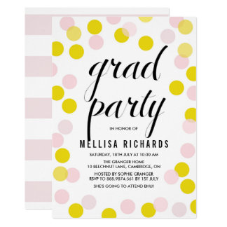 Pink & Yellow Polka Dots Confetti Graduation Party Card