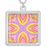 Pink, Yellow & Purple Abstract Design Necklace