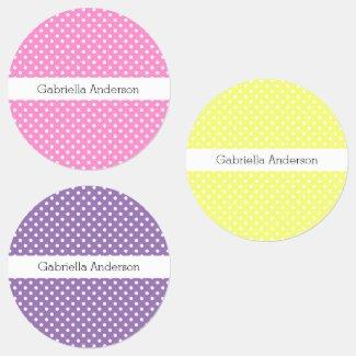 Pink Yellow Purple Polka Dot Kids' Labels