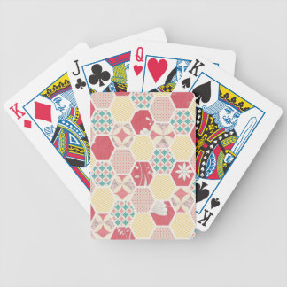 Pink Yellow Quilt Pattern Bicycle Poker Deck