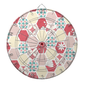 Pink Yellow Quilt Pattern Dartboard With Darts