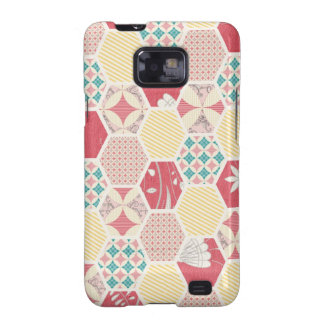 Pink Yellow Quilt Pattern Galaxy SII Cover