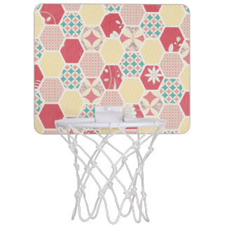 Pink Yellow Quilt Pattern Mini Basketball Hoops