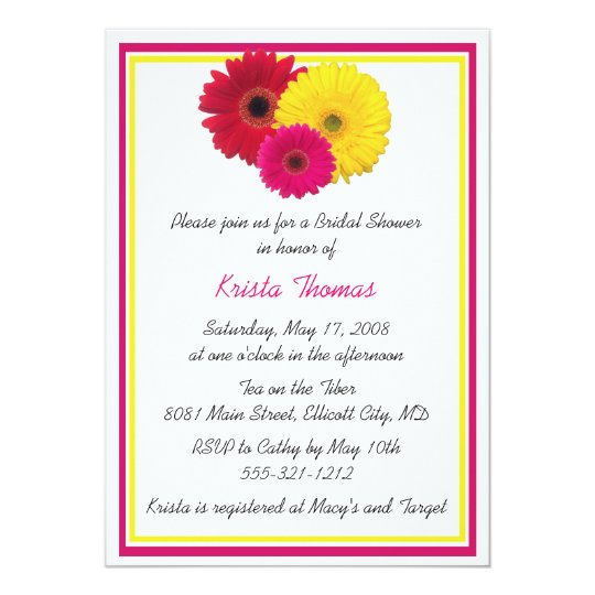 Pink Yellow Red Gerbera Daisy Shower Invitations