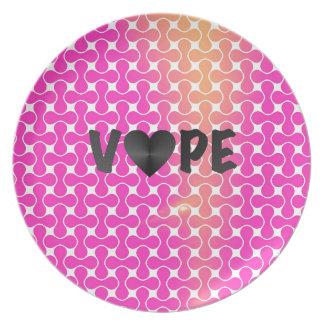 Pink Yellow Retro Vape Heart Dinner Plate