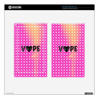 Pink Yellow Retro Vape Heart Kindle Fire Decals