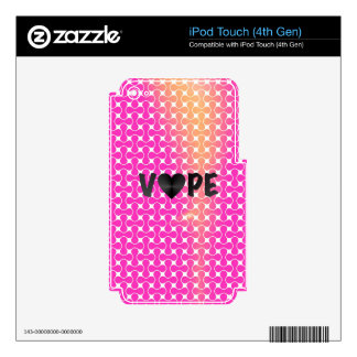 Pink Yellow Retro Vape Heart Skins For iPod Touch 4G