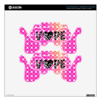 Pink Yellow Retro Vape Heart Skins For PS3 Controllers