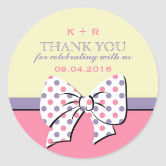 Pink Yellow Ribbons and Bows Polka Dots Stickers