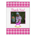 Pink & Yellow Rocking Horse Thank You Card