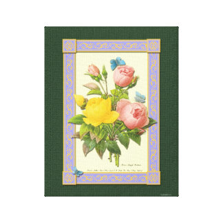 Pink Yellow Rose Botanical Art Wrapped Canvas Canvas Print