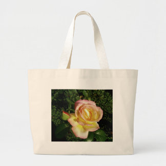 Pink Yellow Rose Close Up Wallpaper Canvas Bags