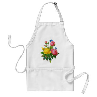 Pink & Yellow Rose w/Blue Butterflies by Redoute Adult Apron