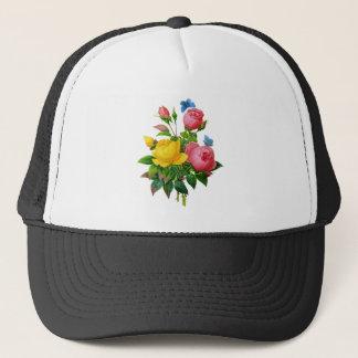 Pink & Yellow Rose w/Blue Butterflies by Redoute Trucker Hat