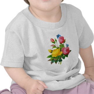 Pink & Yellow Rose w/Blue Butterflies by Redoute Tees