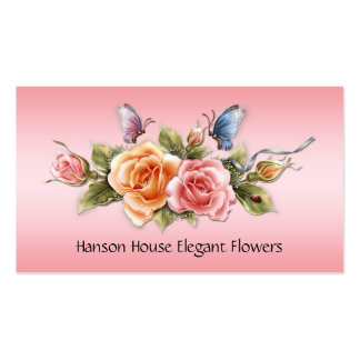 Pink Yellow Roses Butterflies Business Card