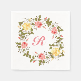 Pink & Yellow Roses Monogram Initial Napkin